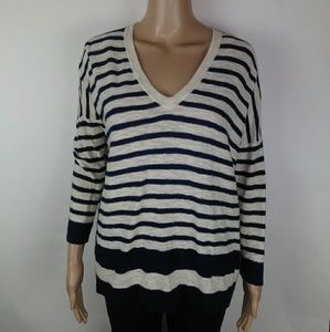 Madewell blue and white striped shirt size m